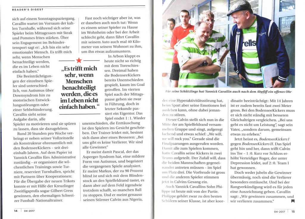 FCK-Handicapteam Bodenseekickers im Reader's Digest