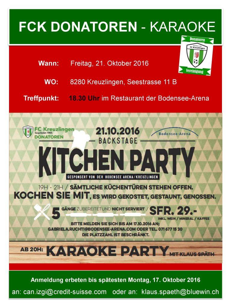 Donatoren Kitchen & Karaoke - Party - jetzt anmelden
