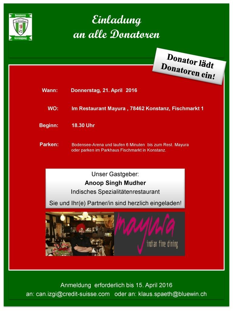 Donatoren: Einladung ins Restaurant Mayura in Konstanz